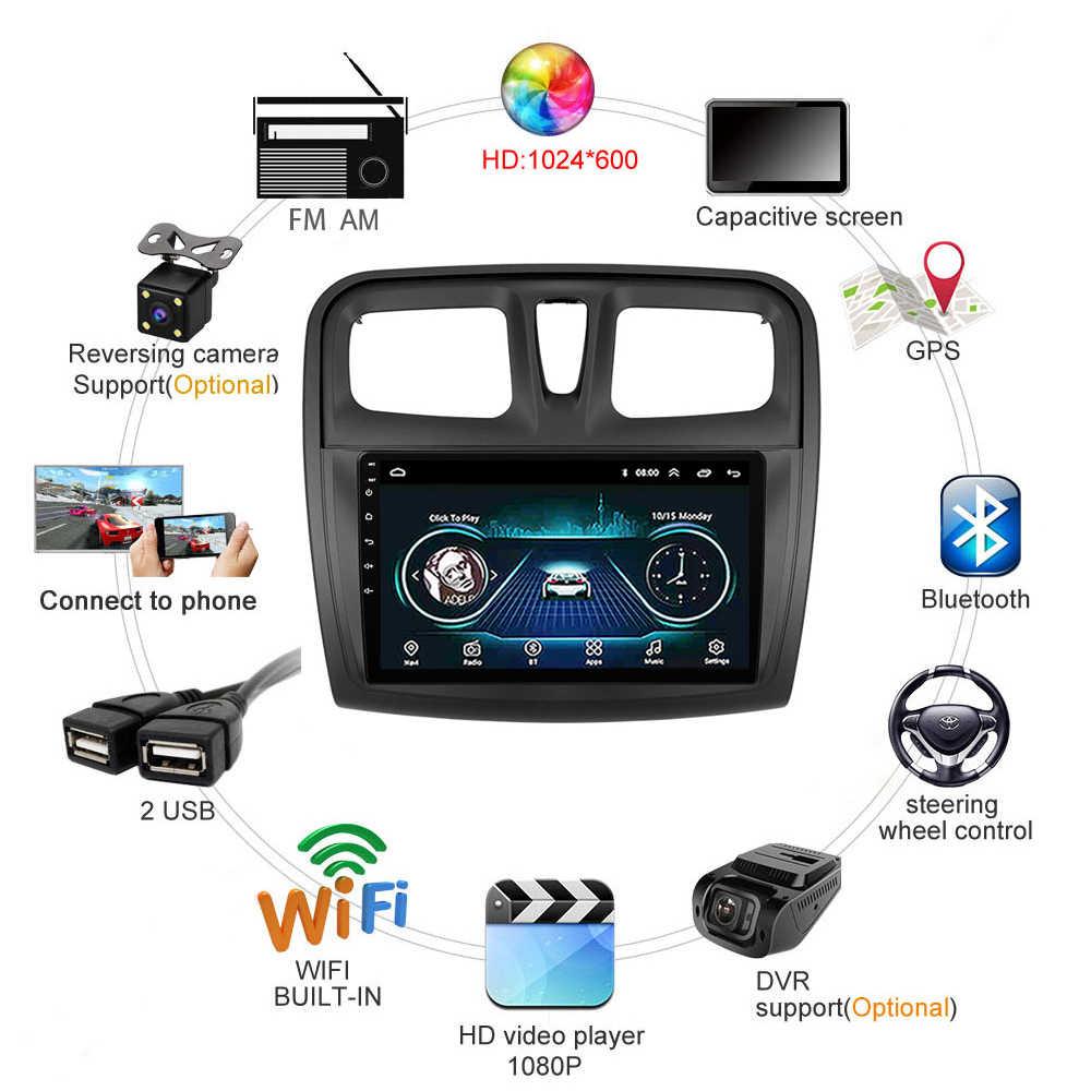 Renault Logan için 2 Sandero 2 2014 2015 2016 2017 2018 2019 sembol araba radyo multimedya Video oynatıcı navigasyon GPS Android
