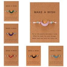Сделайте поздравительную карточку из смолы, натуральный камень, тканые браслеты-шармы, полумесяц, красная нить на удачу женские браслеты, модные ювелирные изделия, подарок