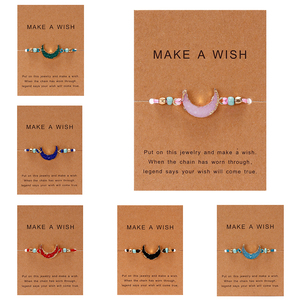 Make a Wish Card Resin Natural Stone Woven Charm Bracelets Crescent Moon Lucky Red String Bracelets Femme Fashion Jewelry Gift