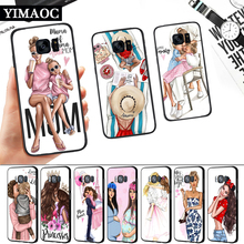 Super Mom And Baby Girls Silicone Soft Case for Samsung S6 S7 Edge S8 S9 S10 Plus Note 8 9 10 M10 M20 M30 M40 j6