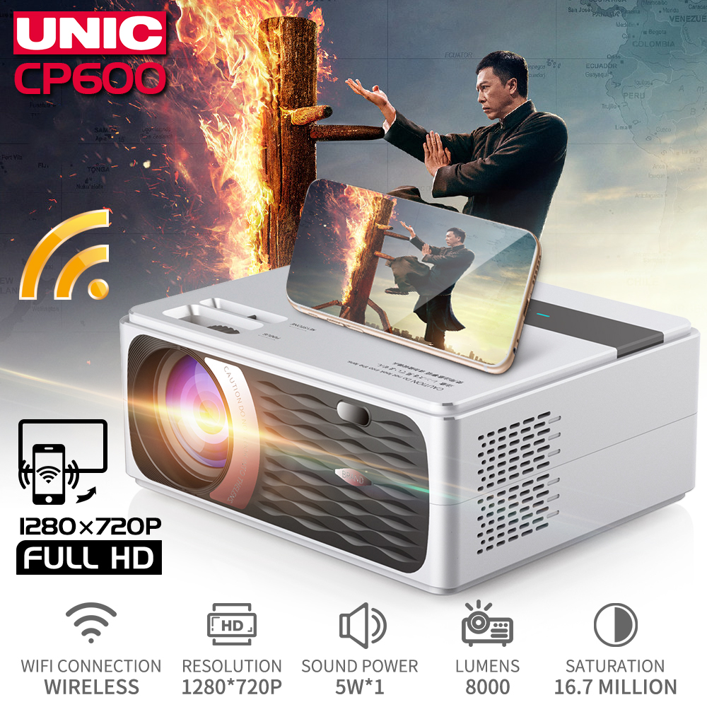 UNIC Beamer Proyector Cinema Usb-Port Wifi Android Hdmi 8000 Lumens Full-Hd 4K 55W  title=