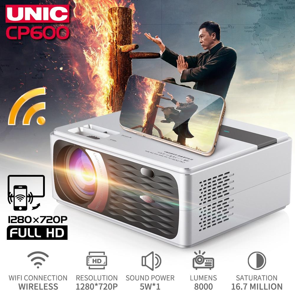 UNIC CP600 55W Full HD 1080P โปรเจคเตอร์ 4K 8000 Lumens Cinema Proyector Beamer สำหรับ Android WIFI HDMI VGA AV USB พอร์ต