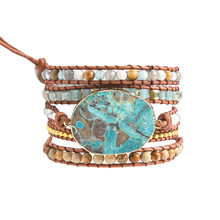 5X Leather Wrap Beaded Bracelet  Huge OceanStone Bracelet, Boho Chic Jewelry, Bohemian Bracelet Valentine's Gift