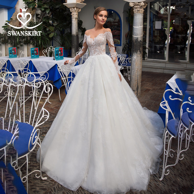 Fashion Off Shoulder Wedding Dress Swanskirt GI07 Long Sleeve Appliques A-Line Illusion Princess Bridal Gown Vestido De Novia