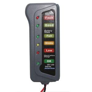 Image 3 - 1 قطعة سيارة صغيرة 12 فولت جهاز اختبار بطارية LCD الرقمية المولد 6 LED أضواء عرض نظام محلل دراجة نارية التفتيش أداة