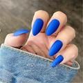 Матовые короткие поддельные ногти шпильки синий impress нажмите на ногти кончик искусственный unghie finte искусственные кончики для украшения ног...