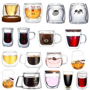 Glass-Mug Table-Cups Coffee-Mugs Heat-Insulation Milk Borosilicate Double-Layers Home