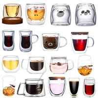 Double Layers Glass Mug Borosilicate Heat Resistant Office cup Home Table Cups Heat Insulation Tea Milk Coffee Mugs