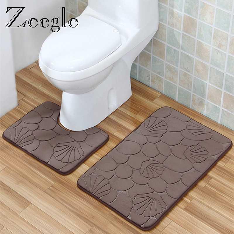 Zeegle 3D Flannel Non-slip Bathroom Bath Mats Set Toilet Rugs Absorbent Shower Room Floor Mat Foot Pad Washable Bathroom Carpet
