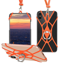Lanyard Strap Case For iPhone X XR XSMAX Holder Universal Soft TPU Elastic Rope Sports Activity Neck Cover for Samsung S10