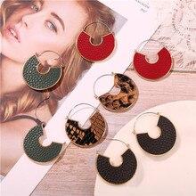 Geometric Round Big Leather Drop Earrings For Women 2019 Vintage Snake Skin Leopard Pendant Earring Ladies Modern Jewelry