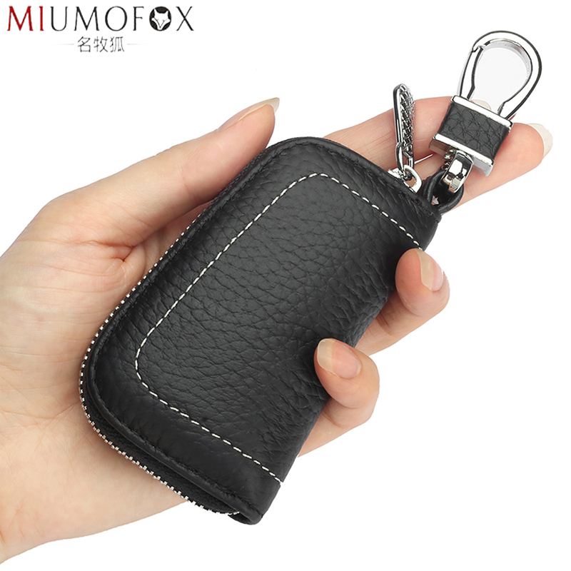 Genuine Leather Car Key Wallets Men Key Holder Keys Organizer Zipper Key Pouch Case Bag Waist Hanged Keychain Covers Purse Mini