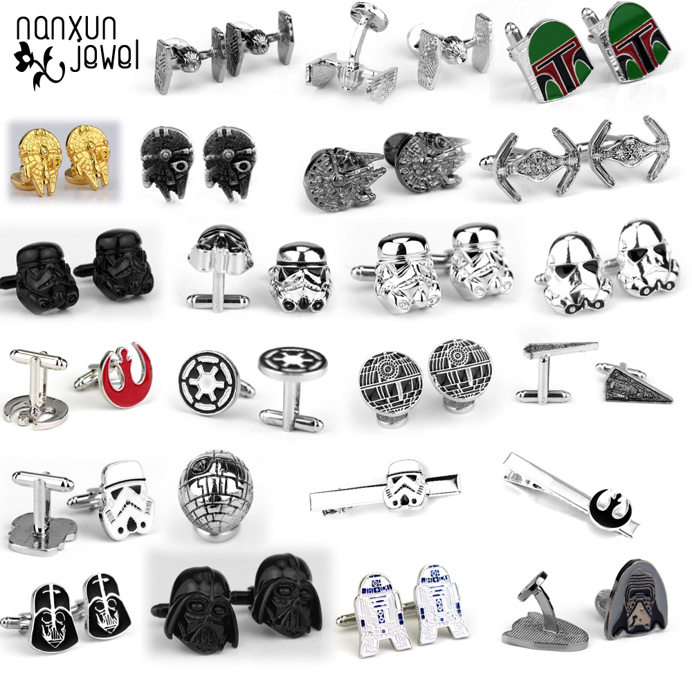 Men Cufflinks Jewelry-Accessories Sleeve Robot-Series Star-Wars Nail-Fashion