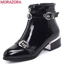 MORAZORA 2020 neue ankunft stiefeletten für frauen schnalle zip runde kappe herbst winter stiefel mode kleid büro schuhe weibliche