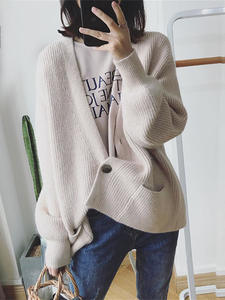 Knit Cardigan Outwear Sweater Coat Jacket Loose H.SA Winter V-Neck Casual Solid Single-Breasted
