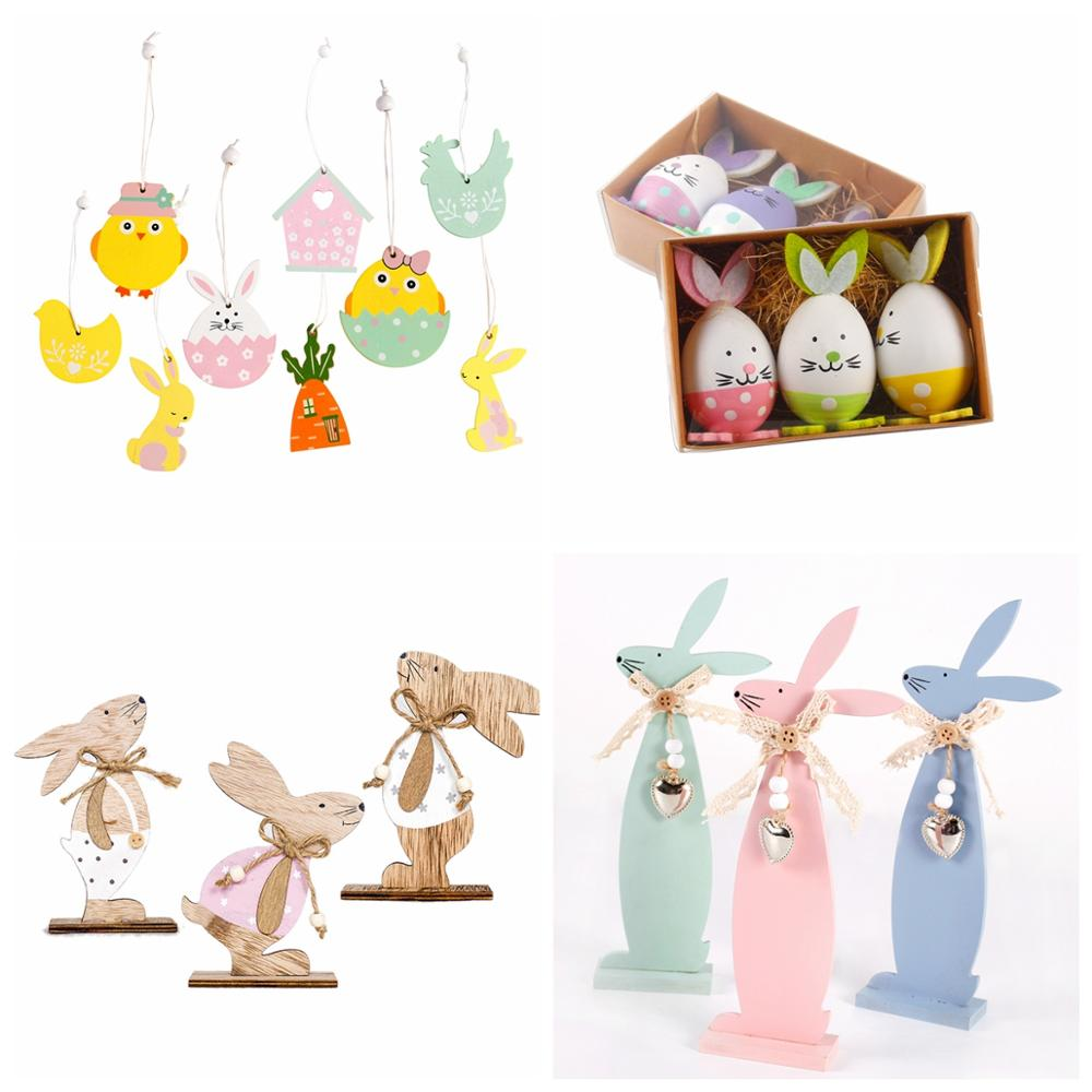 HUIRAN Wooden Easter Eggs Rabbits Bunny Ornemnets Happy Easter Decor For Home Easter Party Decor Birthday Festive Party Supplies