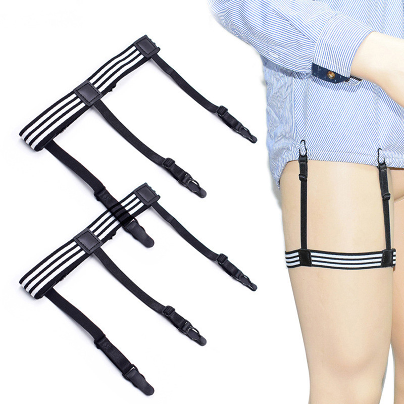 1 Pair Elastic Mens Shirt Stays Striped Suspenders Straps Anti-skid Belt Garters Nylon Adjustable Shirt Holders For Male