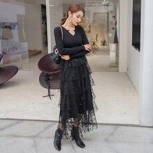 Yigelila модное женское черное кружевное платье Элегантное Длинное