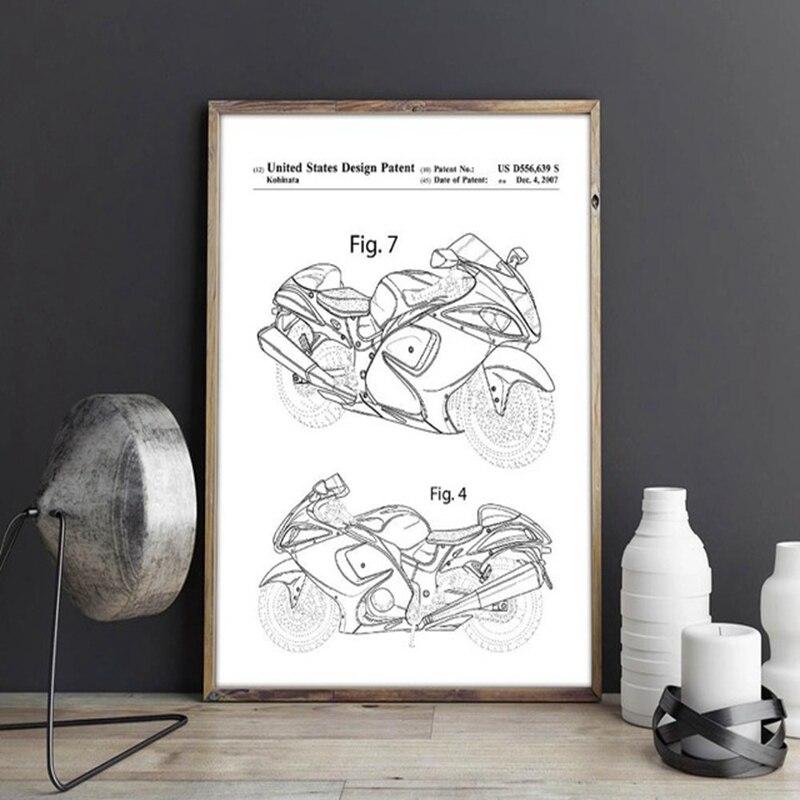 Patente de motocicleta, obra de arte, Dirt Bike para arte de pared Suzuki, carteles, decoración de habitación, impresión, blueprint, idea de regalo, decoraciones de pared