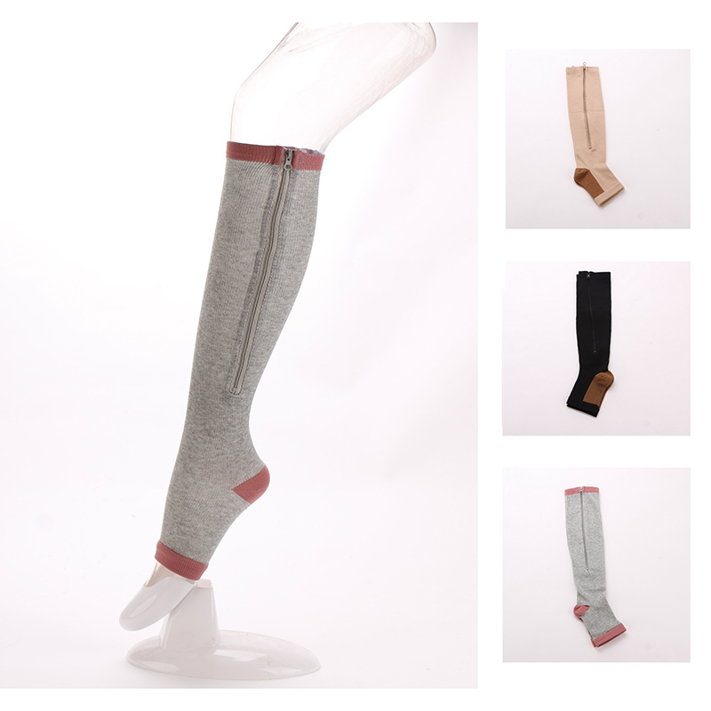 Trendy Men Women Zipper Compression Socks Thin Leg Burn Fat Leg Support Knee High Sox Open Toe Socks Professional Leg Protection