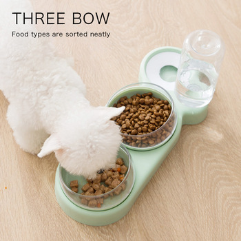 Pet Bowl Cat Double Bowls Automatic Water Container Food Dispenser Cat Feeder Food Bowls Drinking Raised Stand Dish for Cat Dog 1
