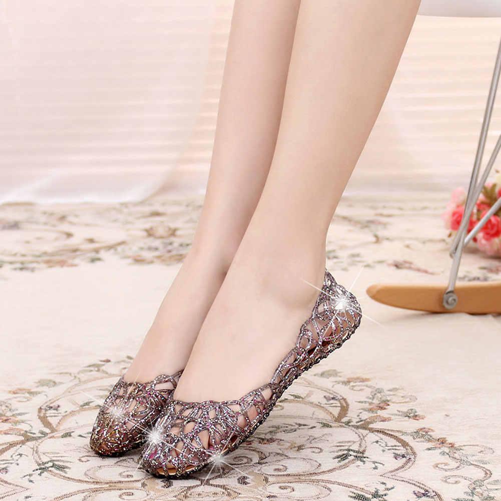 Новинка 1 пара женские блестящие сандалии на полой подошве прозрачная обувь