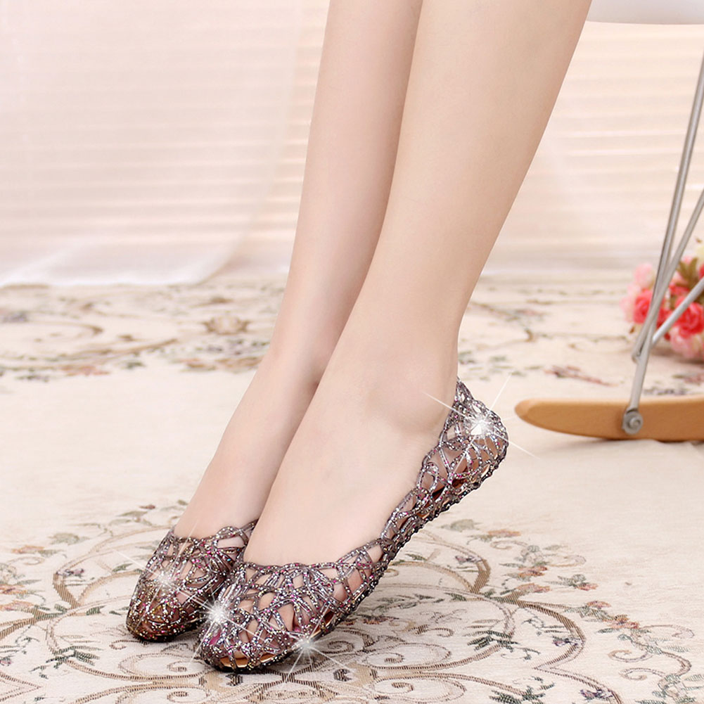 NEW 1 Pair Women Hollow Glitter Sandals Jelly Flat Shoes Breathable For Summer Beach Party