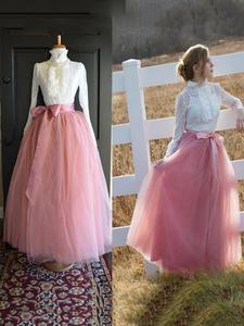 Tulle Skirts Floor-Length Wedding Long 7-Layers Women Bridal Fashion 100cm Faldas Saias