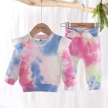 Комплект одежды для новорожденных девочек топ с оборками и длинным