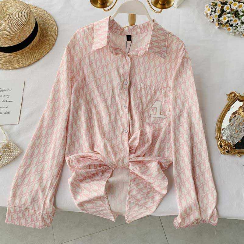 NiceMix 2019 New Arrival Women Fashion Pink Print Thin Shirt Turn-down Collar Long Sleeves Loose Blouse Vintage Casual Mujer blu