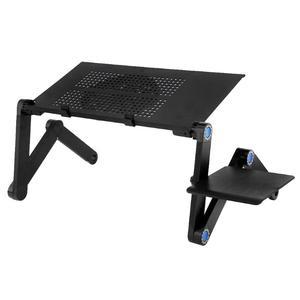 Image 2 - Zwei Fan Laptop Schreibtische Tragbare Faltbare Einstellbare Klapptisch Laptop Schreibtisch Stehen mesa para notebook Tisch Entlüftet Stand Bett