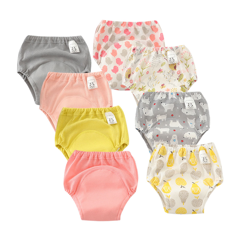 8PCS Waterproof Mesh Baby Potty Training Pants Reusable Toilet Trainer Panty Underwear Bebe Cloth Diaper Briefs Wholesale