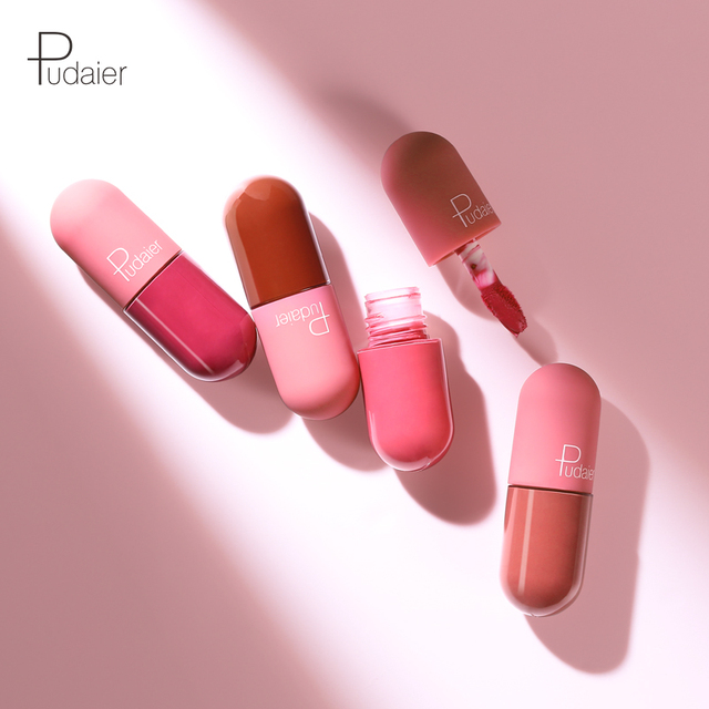 Pudaier Mini Liquid lipstick Portable professional makeup full Portable lipsticks for lips make up tint lip gloss lipstick matte Beauty & Health