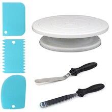 Soporte de pastel de plástico mesa giratoria estante de masa cuchillo decorando crema más suave plato de pasteles mesa giratoria DIY herramienta para hornear CT2279
