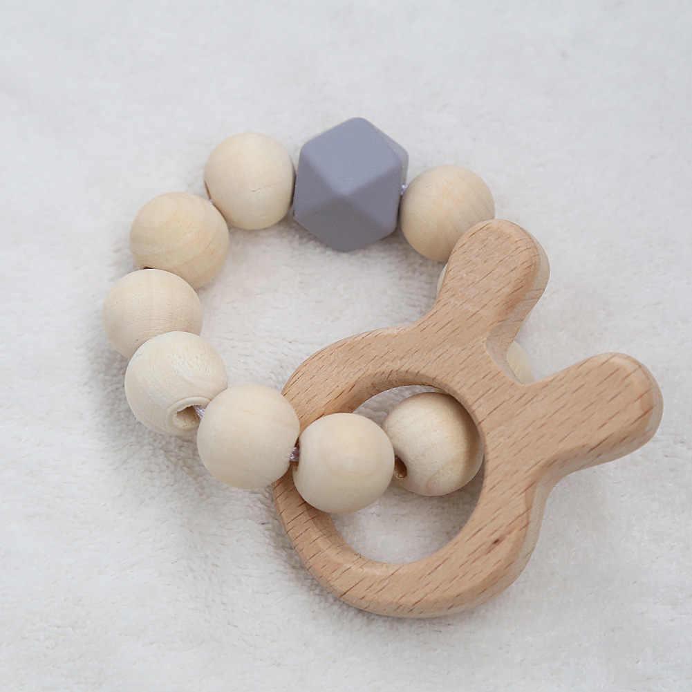 الطفل التمريض أساور الخشب الطبيعي عضاضة سيليكون الخرز التسنين خشخيشات اللعب الطفل التسنين لعبة أساور التمريض هدية