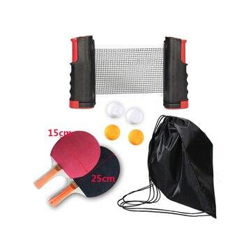 цена на Professional Portable Ping Pong Set table tennis Retractable Net Training de mesa Rubber Film Red Ping Pong Accessories Set2020