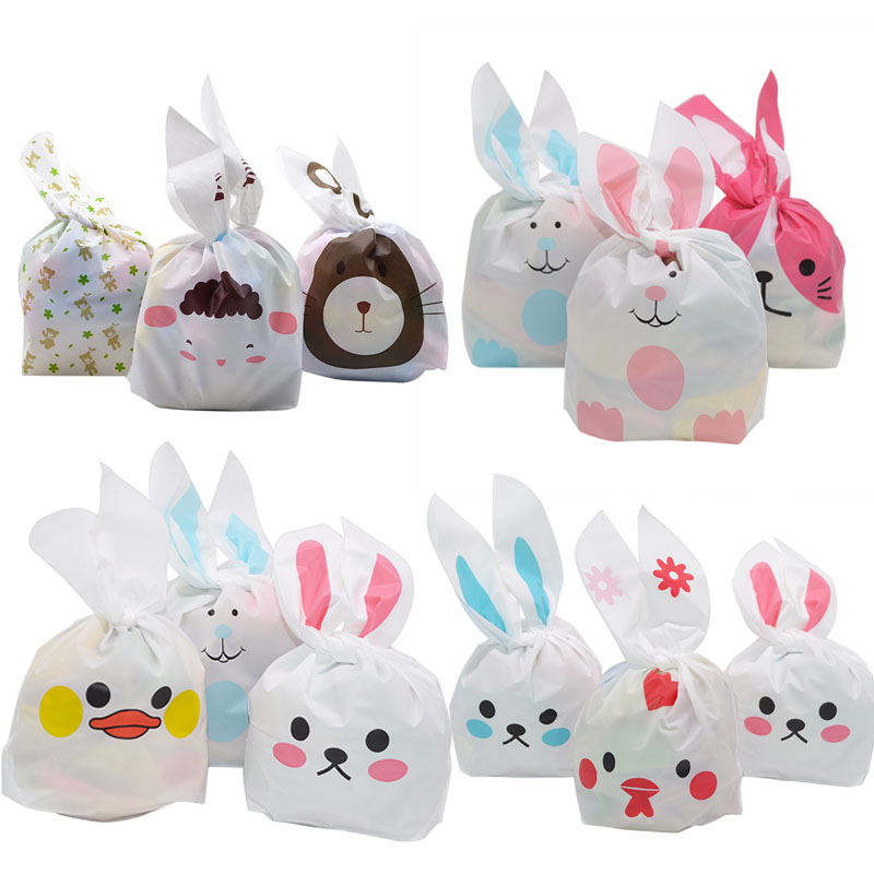 25pcs Easter Decor Candy Bag Easter Bunny Ear Cookie Bag Plastic Snack Baking Bags DIY Shower Birthday Party Gift Packing Supply
