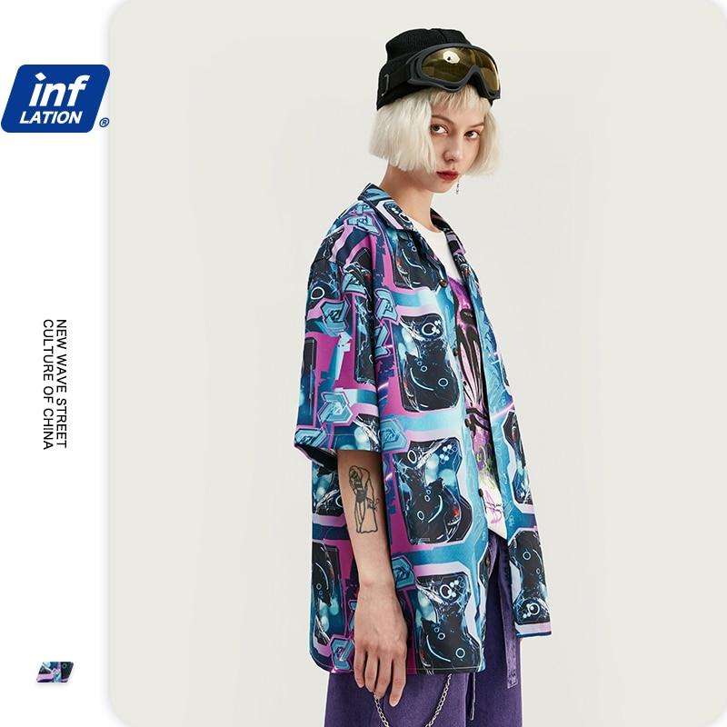 INFLATION Digital Printing Men Shirt Camisa Masculina Pубашка Mужская Shirt Men 2020 Summer Short Sleeve Casual Shirts 2039S20