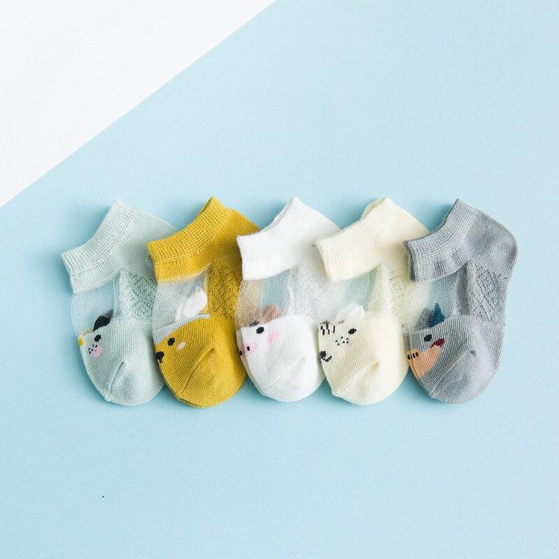 5 Pairs/lot 0 to 7 Years Spring Summer Thin Mesh Socks For Girls Boys Cute Animal Children's Thin Sock Baby Newborn Short Socks 3