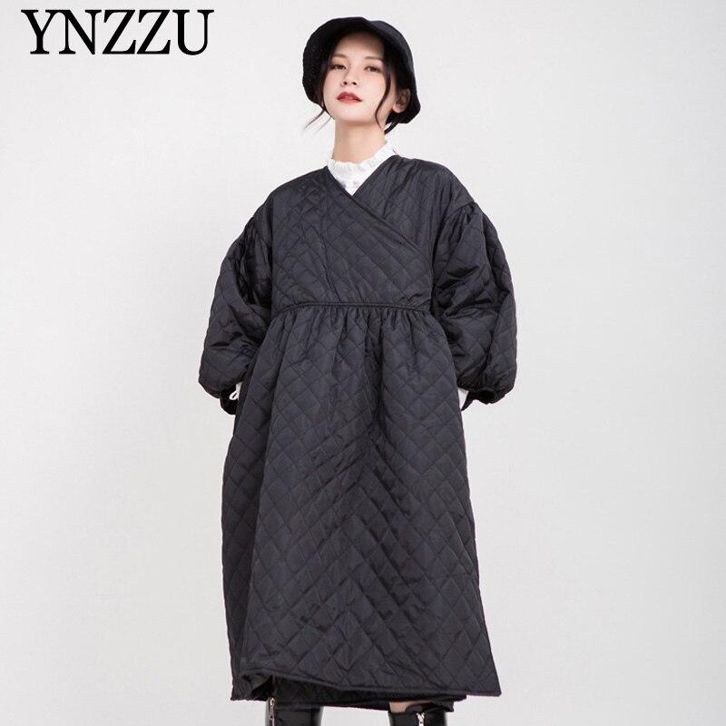 2019 hiver col en v femmes long parkas manches bouffantes noir femme veste à lacets matelassé manteaux élégant mode Outwear YNZZU 9O047