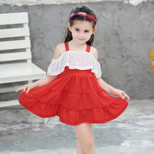 цена на Girls Dress 2020 Summer Kids Sling Lace Dresses For Girl Princess Dress Children Clothing Summer Girls Clothes 3 4 5 6 7 8 Years