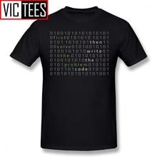 Mens Developer T Shirts First Solve The Problem Then Write The Code T-Shirt Men Beach Tee Shirt Funny Graphic Cotton Tshirt