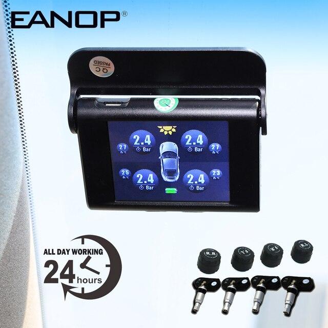 EANOP S368 Solar TPMS 2.4 TFT LCD Car Tire Pressure Monitoring System 4pcs Internal External Sensors  Alarm For Universal Cars