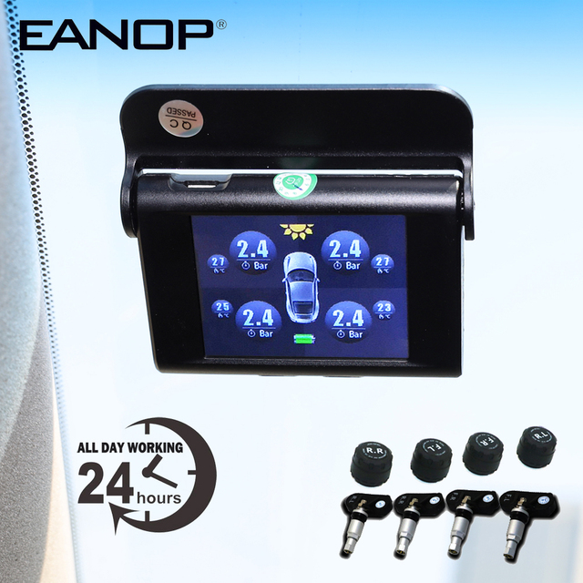 EANOP S368 الشمسية TPMS 2.4 TFT LCD سيارة نظام مراقبة ضغط الإطارات 4 قطعة أجهزة الاستشعار الخارجية الداخلية إنذار للسيارات العالمي
