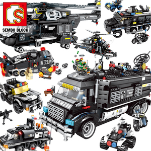 SEMBO BLOCK City SWAT Police Station Truck Building Block Set Technic Car Constructor Ship Helicopter Brick Kids Toys(China)