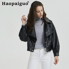 2019 Modis BF Women Washed PU Faux Leather Coat Jackets Ladies Autumn Winter Black Matte Motorcycle Zippers Coats Streetwear