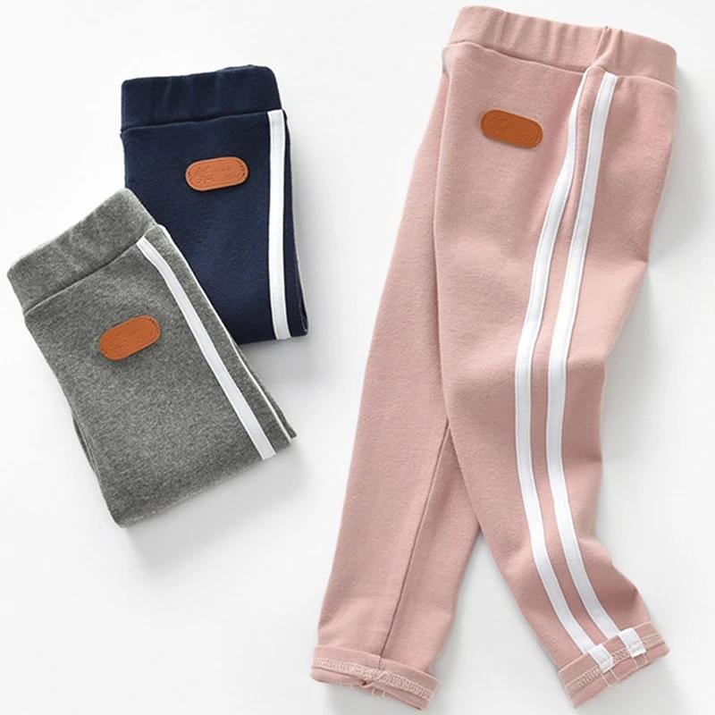 0-6T New Fashion Girl Pants Pure Color Side stripe Sports Leggings for Kid Girls Pants Kids Leggings Sport Trousers Outwear