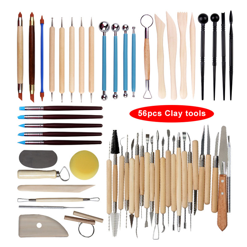 Arts Crafts Clay Sculpting Tools Pottery Carving Tool kit Pottery & Ceramics Ceramics Wooden Handle Modeling Clay Tools(China)