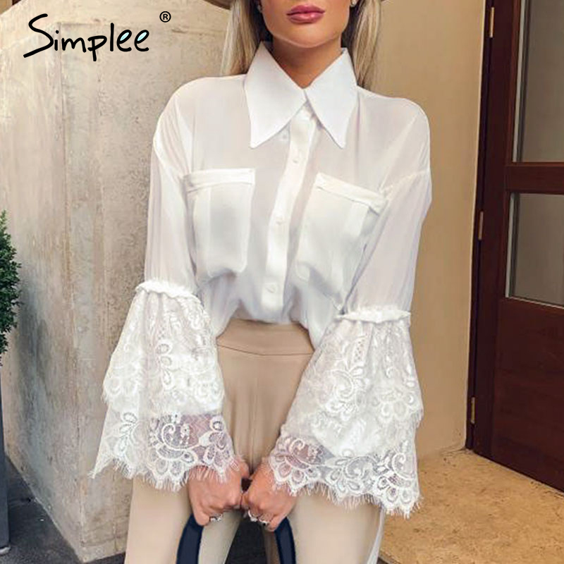 Simplee Vintage Lace Spliced Chiffon Blouse Shirt Elegant Flare Sleeve Female Autumn Tops Buttons Pockets Office Ladies Blouses