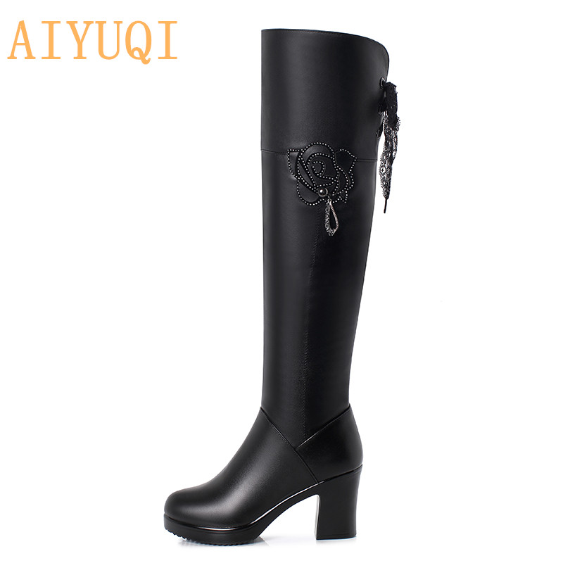 AIYUQI Thigh High Belted Boots Women Genuine Leather Platform Heels womens thigh high boots